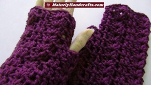 Purple Fingerless Gloves - Wrist Warmers - Grape Fingerless Mitts