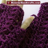 Purple Fingerless Gloves - Wrist Warmers - Grape Fingerless Mitts THUMB