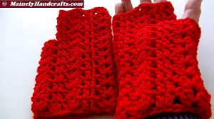 Vibrant Red Fingerless Gloves - Texting Gloves - Hobo Mittens - Red Wristwarmers 4