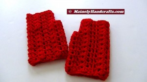 Vibrant Red Fingerless Gloves - Texting Gloves - Hobo Mittens - Red Wristwarmers 5
