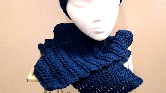 Crocheted Scarf - Rich Blue Peacock